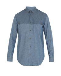 Maison Margiela | Blue Single-cuff Front-yoke Cotton Shirt for Men | Lyst