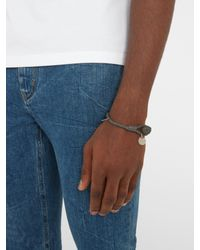 Bottega Veneta - Gray Intrecciato-woven Knot Leather Bracelet for Men - Lyst