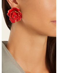 Oscar de la Renta - Red Rosette Enamel-painted Clip-on Earrings - Lyst
