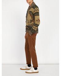 RRL - Brown Shawl-collar Wool-blend Cardigan for Men - Lyst