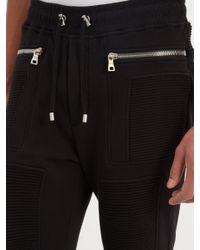 Balmain - Black Slim-leg Biker Track Pants for Men - Lyst