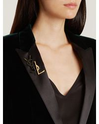 Saint Laurent - Black Set Of Two Deconstructed Monogram Brooches - Lyst