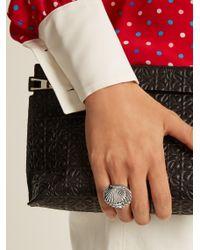 Miu Miu - Metallic Shell Faux-pearl Embellished Ring - Lyst