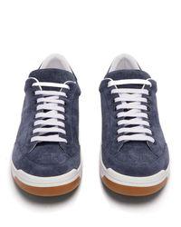Burberry - Blue Baskets basses en daim perforées à logo Timsbury for Men - Lyst