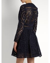 Zimmermann - Blue Ryker Broderie-anglaise Cotton Dress - Lyst