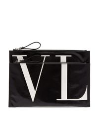 Valentino - Black Pochette à double fermeture à glissière Vltn for Men - Lyst