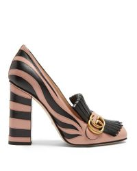 b5867b9d7 Lyst - Gucci Marmont Fringed Leather Pumps in Black