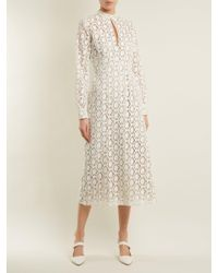 By. Bonnie Young - White Long-sleeved Cotton-blend Lace Dress - Lyst