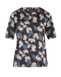 Meng - Blue Floral Leaf-print Silk-satin Pyjama Top for Men - Lyst