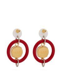 Marni - Red Crystal-embellished Hoop Drop Earrings - Lyst
