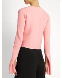 Tibi Pink Asymmetric Round-neck Ribbed-knit Sweater