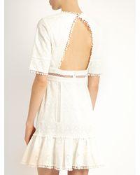 Zimmermann - White Caravan Ruffled-hem Embroidered Cotton Dress - Lyst