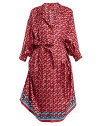 F.R.S For Restless Sleepers - Red Anteros Geometric-print Silk-twill Shirtdress - Lyst