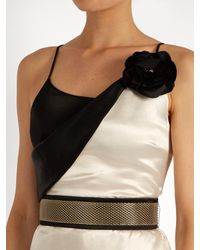 Lanvin White Flower-embellished Draped-neck Satin Gown
