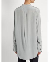 Jil Sander - Gray Christina Silk-crepe Shirt - Lyst