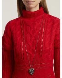 Alexander McQueen - Metallic Heart Locket Embellished Pendant Necklace - Lyst