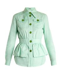 Miu Miu - Green Peplum-waist Cotton-piqué Jacket - Lyst