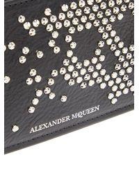 Alexander McQueen - Black Studded Skull Leather Zip-around Wallet - Lyst