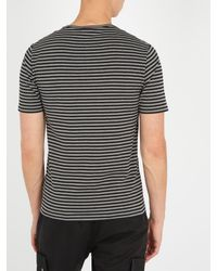 Acne | Black Napa Face Striped Cotton T-shirt for Men | Lyst