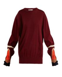 Toga - Red Mesh-insert Ribbed Cotton-blend Sweater - Lyst