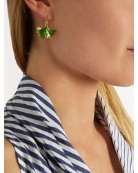 Aurelie Bidermann - Metallic Ginkgo Lacquered Gold-plated Earrings - Lyst