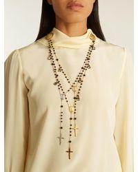 Dolce & Gabbana - Black Triple-strand Rosary Necklace - Lyst