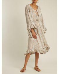 Zimmermann - Natural Meridian Striped Linen And Cotton-blend Dress - Lyst
