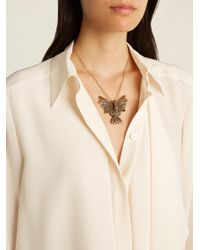 Lanvin - Metallic Crystal-embellished Swan Necklace - Lyst