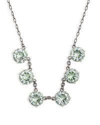 Bottega Veneta - Green Cubic-zirconia And Oxidised-silver Necklace - Lyst