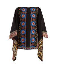 Etro - Black Floral-print Silk-georgette Top - Lyst