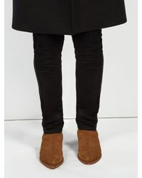 Saint Laurent - Brown Lukas Suede Ankle Boots for Men - Lyst