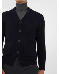 Giorgio Armani - Blue Notch-lapel Wool Cardigan for Men - Lyst