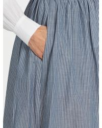 Vince - Blue Striped Cotton Skirt - Lyst