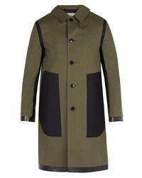 Mackintosh - Green Contrast-panel Bonded-cotton Overcoat for Men - Lyst