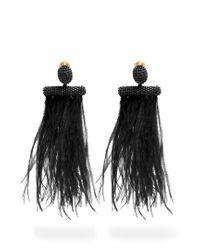 Oscar de la Renta | Black Feather-embellished Tassel-drop Clip-on Earrings | Lyst