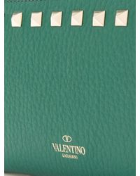 Valentino - Green Rockstud Leather Continental Wallet - Lyst