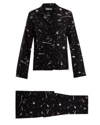 Rockins - Black Ufo-print Silk-crepe Pyjama Set - Lyst