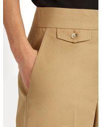 Helmut Lang - Brown High-rise Wide-leg Cotton-faille Trousers - Lyst