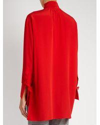 Valentino - Red Tie-neck Silk Blouse - Lyst