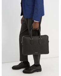 Alexander McQueen - Black Logo-print Grained-leather Briefcase for Men - Lyst