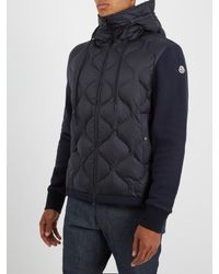 Moncler - Blue Hooded Contrast-panel Quilted Down Jacket for Men - Lyst