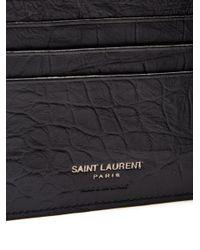 Saint Laurent - Black Monogram Crocodile-effect Bi-fold Leather Wallet for Men - Lyst