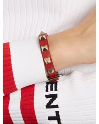 Valentino - Red Rockstud Leather Bracelet - Lyst
