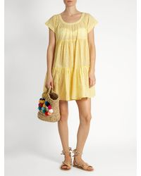 Thierry Colson - Yellow Paola Fil Coupé Tiered Silk-gauze Dress - Lyst