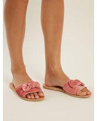 Ancient Greek Sandals - Multicolor Taygete Bow Velvet Slides - Lyst