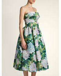 Dolce & Gabbana - Green Hydrangea-print Organza Strapless Dress - Lyst