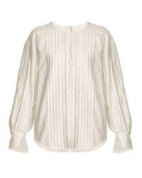 Chloé - Multicolor Diamond-lace Trimmed Cotton Top - Lyst