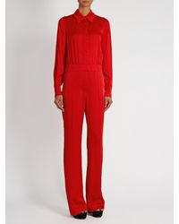 Sonia Rykiel | Red Point-collar Long-sleeved Cady Jumpsuit | Lyst