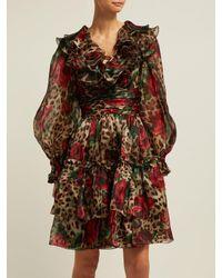Dolce & Gabbana Multicolor Rose And Leopard Print Silk Organza Midi Dress