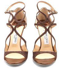Jimmy Choo - Metallic Lang 100mm Glitter Sandals - Lyst